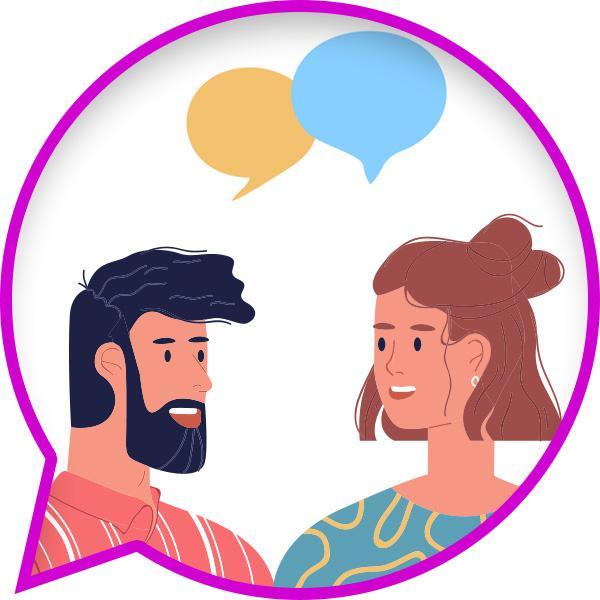 Ilustracja rozmawiającego mężczyzny ikobiety