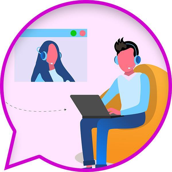 Ilustracja rozmowy audiowizualnej przez internet